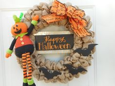 Halloween wreath Halloween decor Spooky by ChloesCraftCloset
