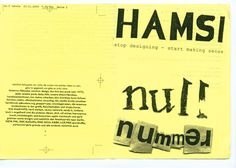 (The Old New Ugly)   typolis: for the time being: HAMSI#3-blog: reader/text+bild im ›neuen‹ hamsi (2007)