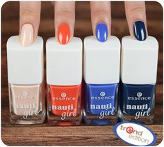"which nail polish from the ""nauti girl"" trend edition is your favorite?  a. crew first! (nude) b. miss navy (red) c. oh captain, my captain! (medium blue) d. ahoy, boy! (deep blue)  #manimonday"