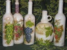 Σχετική εικόνα Bottles And Jars, Mason Jars, Decoupage, Altered Bottles, Bottle Art, Malm, Crafty, Gifts, Painting