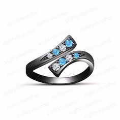 Black Rhodium 925 Sterling Silver Round Aquamarine & White CZ Bypass Toe Ring  #eighty #Bypass