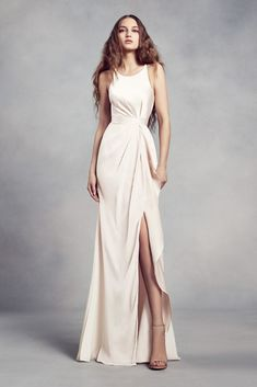da9989bec67 Charmeuse and Chiffon Bridesmaid Dress with Ruffle Style VW360340