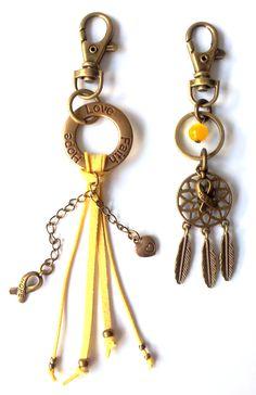 Hope Love Faith Bronze & Yellow sleutelhanger & Love Dreamcatcher Bronze & Yellow sleutelhanger voor Pink Ribbon € 14,95 per stuk -> Jewellicious Designs doneert € 2,03 per sleutelhanger aan Pink Ribbon.