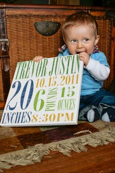 Baby Birth Announcement on 12x12 canvas  by RocaRumble on Etsy, $39.95