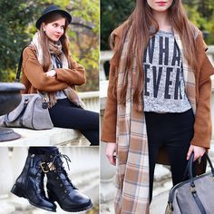 Get this look: http://lb.nu/look/6837218  More looks by Ariadna Majewska: http://lb.nu/ariadna92  Items in this look:  Coffee Cardigan, Grey Jumper, Black Pants, Black Leather Boots, Beige Plaid Scarf, Simple Suede Bag   #casual #grunge #street