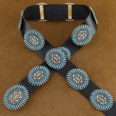 Very Nice! Navajo Silver Turquoise Cluster Concho Belt Hallmarked JHN $2160.00 #alltribes #nativeamericanjewelry