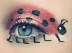 Crazy ladybug eye makeup not sure I could wear this without feeling silly. Bugs crawlin across my face....I can almost feel them now.....