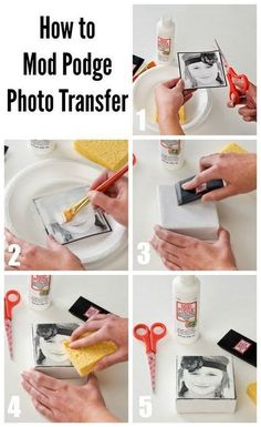 Transfer photo image into a block with Mod Podge! Easy and qui… DIY Photo Blocks. Transfer photo image into a block with Mod Podge! Easy and quick to do in several minutes! Diy Mod Podge, Mod Podge Crafts, Mod Podge Ideas, Resin Crafts, How To Mod Podge, Modge Podge Ideas On Glass, Mod Podge Glass, Modge Podge Projects, Wood Crafts