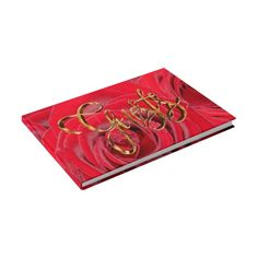 Elegant Gold Handwriting Typography Red Roses Guest Book