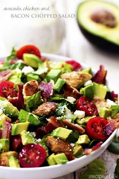 Avocado, Chicken and Bacon Chopped Salad with a Creamy Basil Dressing