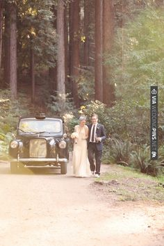 A vintage cab in the woods, shot by Kate Harrison | VIA #WEDDINGPINS.NET