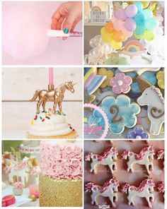 Pastel unicorn inspi. Love the mini arch balloon. And candy floos