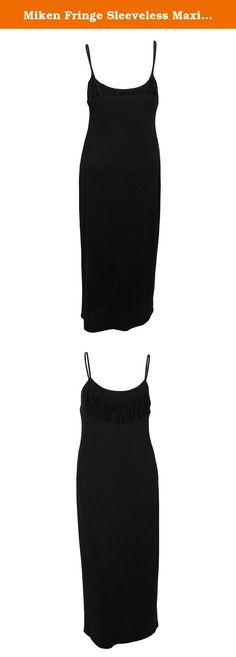 Miken Fringe Sleeveless Maxi Dress Swimsuit Cover Up, Black, Medium. This is a New with Tags, Cover Up Dress68% Polyester/28% Rayon/4% SpandexSweet style on the beach! A cute swimsuit deserves a cute cover up! Layer on this flirtycover updress for a pretty poolside look. Its lightweight material offers an airy, comfortable fit. Pair with flip flops or sandals to complete the outfit.Polyester/Rayon/SpandexMachine washableImportedPullover style.