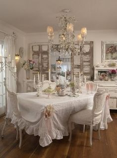 Dining room... not in love with the tablecloth, but everything else works