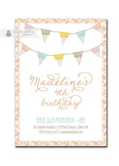 {Madeline} Lace Bunting Birthday Invitation Pastel Girl by digibuddhaPaperie, $23.00  https://www.etsy.com/listing/120542005/lace-bunting-birthday-invitation-pastel