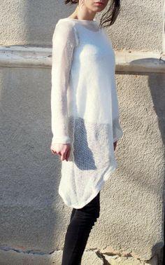 Asymmetric fine knitted tunic/asymmetric by NoLogicByAdrenaline