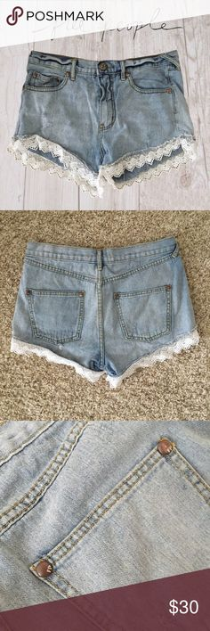 Free People Crochet trim short Excellent condition destroyed crochet trim shorts from free people. Short short with higher waist. Free People Shorts