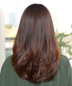 Image result for one layer step cut with long-length hair