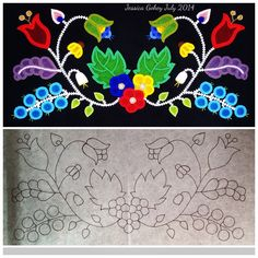 Great inspiration for wool applique. The before and after of the Beaded Cradle Board Panel; Bead Loom Patterns, Beading Patterns, Embroidery Patterns, Floral Patterns, Beading Ideas, Native Beadwork, Native American Beadwork, For Elise, Beadwork Designs
