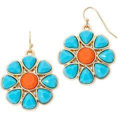 Liz Claiborne Gold-Tone Blue and Orange Stone Flower Drop Earrings (44 BRL) ❤ liked on Polyvore featuring jewelry, earrings, orange blossom jewelry, stone jewelry, flower jewellery, orange jewelry and flower jewelry