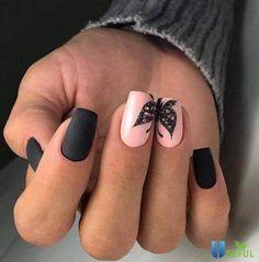 Matte Nail Art, Matte Black Nails, Red Acrylic Nails, Pink Nail Art, Pink Nails, Art Nails, Pink Nail Designs, Simple Nail Art Designs, Winter Nail Designs