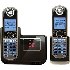 Motorola DECT 6.0 Cordless Phone with 2 Handsets Digital Answering System and Customizable Color Back Plates P1002