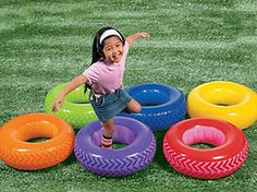 Obstacle course part - instead of tires (if nobody has any) buy cheap inflatable swimming rings from dollar store - larger size, so kids shoes fit in.