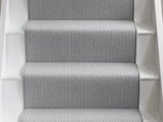 wool moon pinstripe stair runner by alternative flooring Hallway Carpet, Hallway Flooring, Bedroom Carpet, White Staircase, Staircase Design, Stair Design, Staircase Ideas, Grey Hallway, Diy Carpet