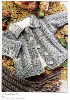 Love this baby jacket for a boy. The pattern is called Melanie and given for 8 & 10 years old. In Russian though, but all measurements clearly in centimetres and lots of schematics Baby Knitting Patterns, Knitting For Kids, Crochet For Kids, Baby Patterns, Free Knitting, Knitting Projects, Crochet Baby, Knit Crochet, Baby Cardigan