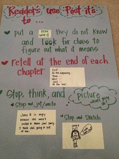 """Anchor Chart: How to use post-its while reading...I love this, except she doesn't need an apostrophe in """"readers"""".  (It's plural, not possessive.) Other than that, great chart!"""