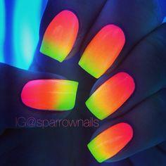 glow-in-the-dark rainbow neon nails! glow-in-the-dark rainbow neon nails! Rainbow Nail Art Designs, Cute Nail Designs, Pretty Designs, Dark Nail Polish, Dark Nails, Cute Nails, Pretty Nails, Neon Nail Art, Glow Nails
