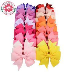 40pcs 40 Colors Baby Grosgrain Ribbon Hair Bows WITH Clip Girls' Boutique PinWheel HairBows Kids Hair Clip Hair Accessories 564