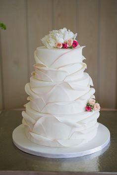 Unique wedding cake // photo by Caroline Lima Photography, via http://theeverylastdetail.com/bald-head-island-pink-and-navy-wedding