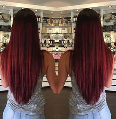 V cut for long thick straight hair....want red hair...