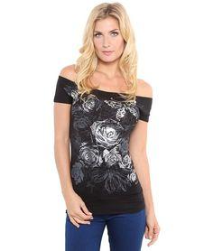 a5aab389c 6119-AQU-18: Shop Butterfly Floral Foil Print Boat Neck Batwing Top T Shirt  Blouse New