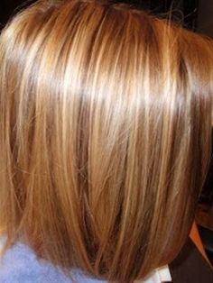 Golden Blonde Highlights w/ Golden Brown lowlights - Golden Blonde Highlights w/ Golden Brown lowlights On Golden Brown Base- Hair Color.... One length Bob - Haircut on Fine To Medium textured Hair  Repinly Hair & Beauty Popular Pins