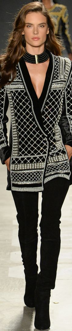 ALESSANDRA AMBROSIO WALKS FOR-  Balmain x H&M Collaboration Collection Runway 2015