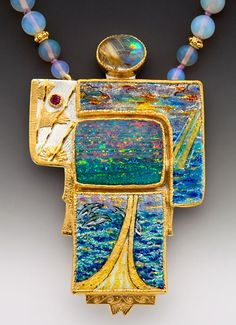 Marianne Hunter--she's one of my favorite jewelry artists. Enamel Jewelry, Opal Jewelry, Jewelry Art, Vintage Jewelry, Jewelry Design, Weird Jewelry, Unusual Jewelry, Artisan Jewelry, Handmade Jewelry