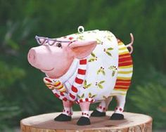 Patience Brewster MINI NORBERT PIG ornament KRINKLES NIB CUTE! NEW 2014