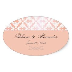 Pink and Coral Damask Wedding Oval Sticker
