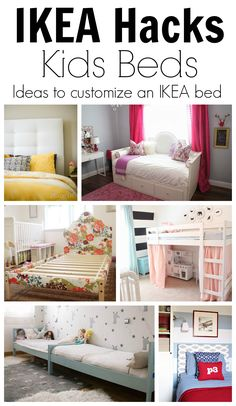 Nine IKEA Hack Ideas for DIYing Customize Kids Beds. Great budget friendly ways to get a custom look for your kids' rooms! Lots of fun ideas!
