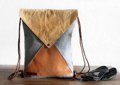 """""""der Turner"""" kleiner Rucksack upcycled,Leder von halfbird auf DaWanda.com"""