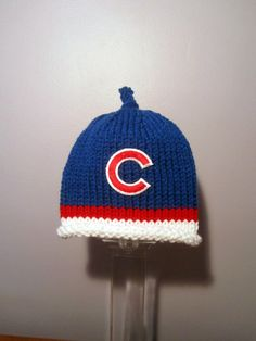 CHICAGO CUBS Hand Knit Baby Hat - Chicago Cubs Baby Hat - Hand Knitted Baby Hat by UpNorthKnitsAndGifts on Etsy https://www.etsy.com/listing/223453930/chicago-cubs-hand-knit-baby-hat-chicago