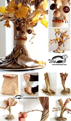 A tree out of a paper bag. Easy and fun crafts for kids – DIY is FUN Autumn Crafts, Fall Crafts For Kids, Nature Crafts, Projects For Kids, Diy For Kids, Fun Crafts, Diy And Crafts, Craft Projects, Craft Ideas
