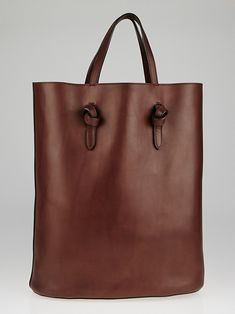 42258b5ff7 Celine Burgundy Natural Calfskin Leather Tie Shopping Tote Bag
