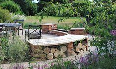 Bench with log store Little Eden - Grade II listed house Eco Garden, Prairie Garden, Gravel Garden, Garden Cottage, Garden Ideas, Patio Ideas, Garden Seating, Outdoor Seating, Outdoor Spaces