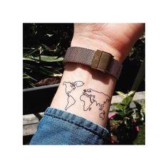 Ephemeral Tattoo World Map - - Travel Elegant Tattoos, Subtle Tattoos, Pretty Tattoos, Unique Tattoos, Beautiful Tattoos, Cool Tattoos, Globe Tattoos, Map Tattoos, Body Art Tattoos