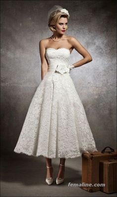 111 elegant tea length wedding dresses vintage (67)