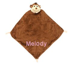"""Personalized Monkey Themed Security Blanket for Baby.  $26.00  Have their name or nick name on this cute little monkey """"blankee""""."""