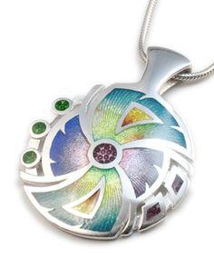 Spiral Viszu Pendant - Lg. Enamel Cloisonné  Soft Colors   www.viszu.com
